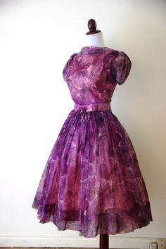 Vintage 1950s Purple Chiffon Party Dress by RetroKittenVintage, $85.00