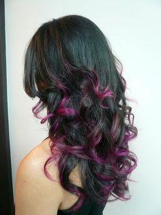 brown hair purple highlights underneath - Google Search