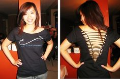 Cut Up The Back Of Your T Shirt   Sexy V And Weave #howto #tutorial