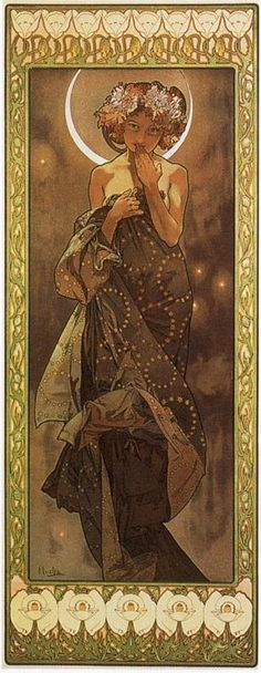 The Moon And The Stars, The Moon by Alphonse Mucha    (One of the girls)