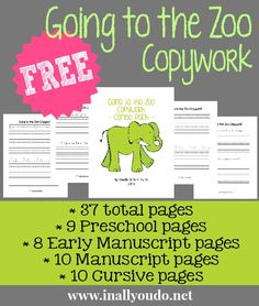 FREE Going to the Zoo Copywork Printables - In All You Do