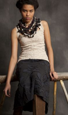 skirt, alabama chanin, fashion, organic cotton, style, cloth, embroid tank, necklaces, knot necklac