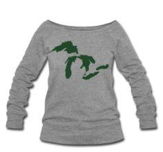 Green Michigan Wide Neck Women's Sweatshirt @ www.downwithdetroit.com