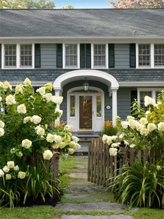 Flowers, shrubs, and a picket fence