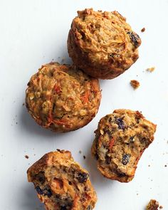 Healthy Morning Muffins - full of oats, carrots, raisins, and banana, these are a perfect weekday breakfast on the go.