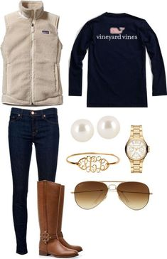 Casual, preppy outfit by Flora, via stos.me. (Vineyard Vines tee + fleece Patagonia vest + Tory Burch riding boots + skinny jeans.)