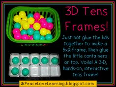 These are made with large containers and ping pong balls, but I think that it could also be done with small lids from water bottles and marbles. The whole activity would have to sit in a tray or cookie sheet to prevent the marbles from rolling all over, though.