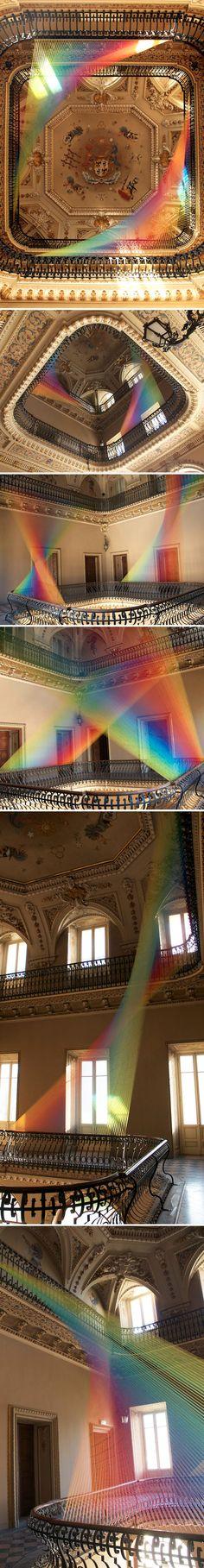 Rainbow thread installation by Gabriel Dawe