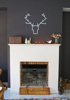 wall colors, decor, wall art, deer heads, tapes