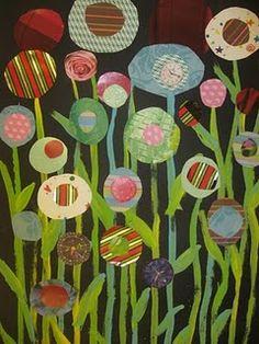 Flowers rex ray, circles, craft, art, kandinski circl, collages, flower collag, flowers, kid