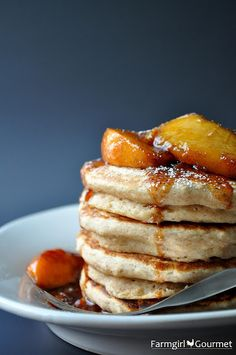Whole Wheat Applesauce Pancakes with Fresh Peach Compote