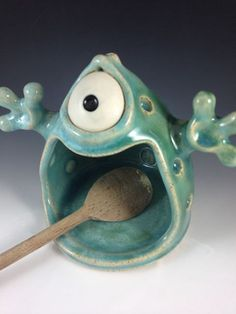 Handmade Spoon Monster - Celadon by Claymonster Pottery. Love to adapt my clay monster lesson for this!