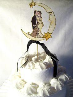 Vintage-inspired art deco cake topper