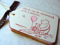 Winnie the Pooh Gift Tags, Classic Pooh Piglet, Baby Shower Gift Tags, Birthday Party Favor Tags, Vintage Balloon Labels. $5.25, via Etsy.