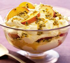 Passionfruit and Peach Trifle.  No cook dessert, perfect for a Summer afternoon.