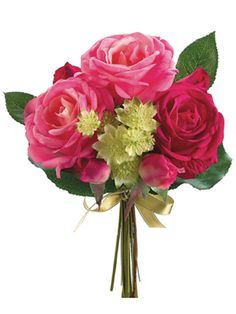 Real Touch Rose Astrantia Bouquet in Pink Fuchsia | Wedding Flowers