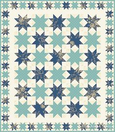 *shift rows, 3 color?, like smaller size for border. Simply Stellar Quilt Kit by Fat Quarter Shop, via Flickr
