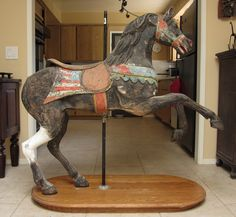 Circa 1900 Looff Carousel Horse in Old Paint