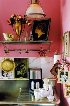 pink and gold kitchen.