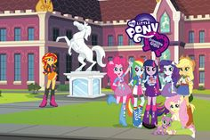 Sunset Shimmer, Pinkie Pie, Rainbow Dash, Twilight Sparkle, Rarity, AppleJack, Spike and Fluttershy