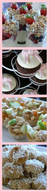 Baby Shower foods- Chicken salad in pastry cups and fruit parfait
