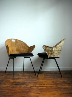 mid century cane chairs.
