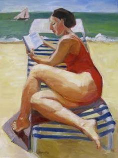 """""""Woman at Beach Reading"""" - Marie Fox"""