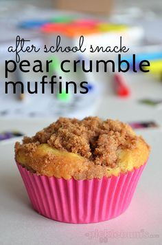 Your little learner will love these Pear Crumble Muffins as an after school snack. From @Katepickle - Picklebums.com.