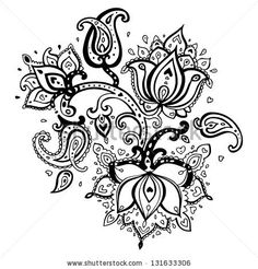 Paisley ornament. Lotus flower. Vector illustration isolated. by Katya Ulitina, via ShutterStock
