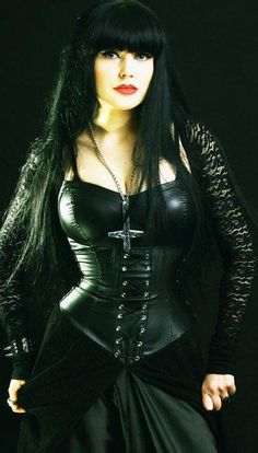 #Goth girl in leather corset