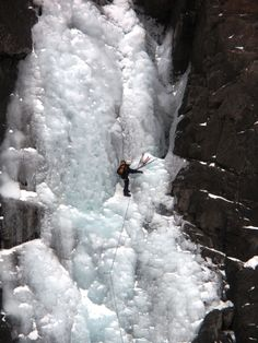 Picture of a brave soul, climbing Frazier Falls when it was frozen over, do not try this at home!