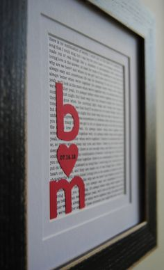 Lyrics to your first dance with your initials overtopped, framed and adorable forever