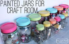 Painted Jars for Craft Room   www.amygigglesdesigns.com
