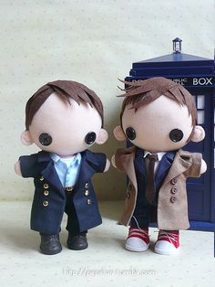 Captain Jack Harkness and the Tenth Doctor - Doctor Who dolls! They are adorable!