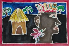 """JJ  Hunt """"Do Not Be Like the Mosquito that Bites the Owner of the House"""", The Montgomery Academy, teacher Bee Lee Tullos, 15 5/8 x 20 7/8"""" unmounted 18 x 24"""" mounted, Mixed Media From Animal Tales  (Exhibition Connection Animals in African Art: From the Familiar to the Marvelous)"""