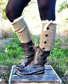 Button Down Leg Warmers Boot Socks Lacy Knitted by ThreeBirdNest, $48.00