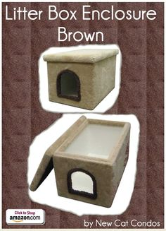 "Litter Box Enclosure - Brown by New Cat Condos - Carpeted outside and laminate inside for your cat's bathroom break. One of the easiest kitty litter boxes to clean and take care of. Easy to lift off lid Easy to clean Stain Resistant Extremely Sturdy Construction - Inside dimensions: 32""L x 19""W x 19""H Outside dimensions: 33""L x 21""W x 19""H Opening: 9""H x 8""W - Price: $119.99 -  #catlitterboxfurniture #cat #litter #box #furniture - http://www.catbedandtoy.com/cat-litter-box-furniture"