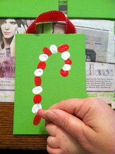 Candy cane fingerprint craft