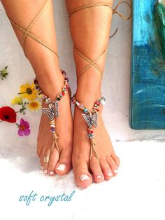 Barefoot sandals. beach sandal, beaded sandals, , butterfly boho barefoot sandles, crochet barefoot sandals, , yoga, anklet  hippie shoes