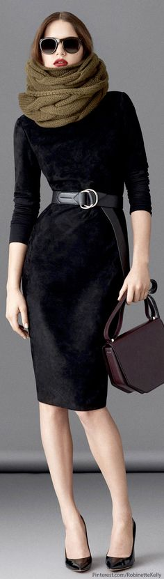 Bally , F/W 2014 fashion weeks, cloth, the dress, chic style, black dress, bags, scarf black, belts, french style