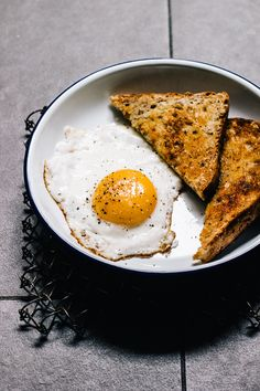 How to Fry an Egg // with a crispy, browned egg white and a still utterly runny yolk.