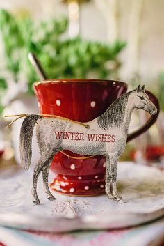 Winter Wishes... hors ornament, holiday, winter, christmas wedding, brunch, places, equestrian, tree ornament, deer