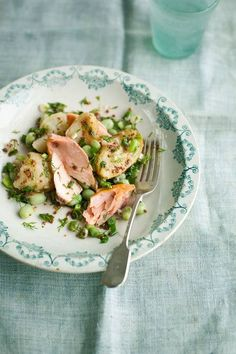 Crushed boiled Jersey potatoes, hot-smoked salmon, broad beans