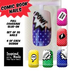 Comic Book Nails  Set of 20 Full Coverage Glue on Nails in 5 Designs.
