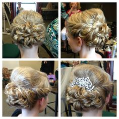 Bridal updo from earlier this summer. This girls hair was super thin and barely past her shoulders...it took alot of work to make it look that full! Medium length updo, bridal hair, wedding hair, fine hair, updo, curls