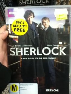 I looked around the whole store.  This sticker could only be found on the Sherlock DVDs.  I think someone is messing with us << that's funny ;)