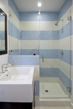 Great for Beach house bathroom with the tiles in a blue and white stripe pattern.  Very cool!  #bathroom #tiles #basin #sydney