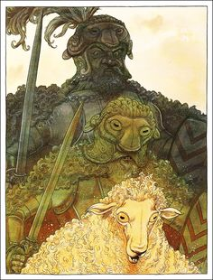 The sheep army Don Quixote attacked:  illustrations by Chris Riddell - Don Quixote