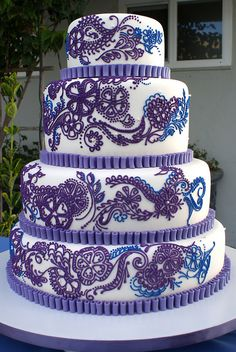 lace cakes, color, henna tattoos, blue cakes, cake designs