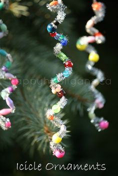 Icicle ornaments - Pipe cleaners and beads